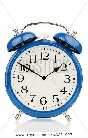 a blue alarm clock on a white background. a wake white dial