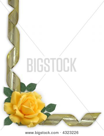 Yellow Rose And Gold Ribbon Border Invitation