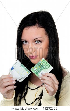 woman with half a euro banknote