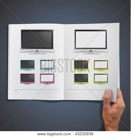 Modern Tv Printed On White Book, Vector Design.
