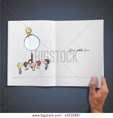 Open White Book With Kids Around A Magnifying Glass. Vector Design.
