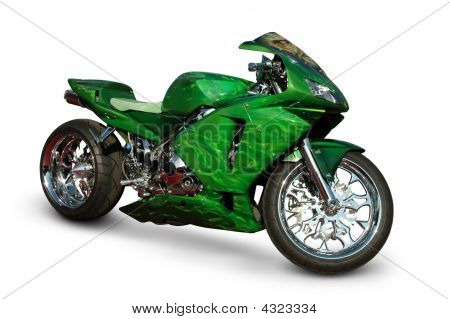 Green Sport Bike On White