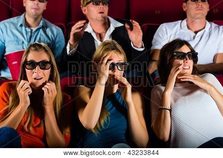 young people strained watching 3d movie at movie theater