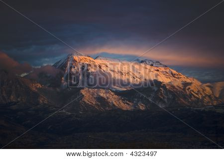 Mount Timanogos, Utah At Sunset