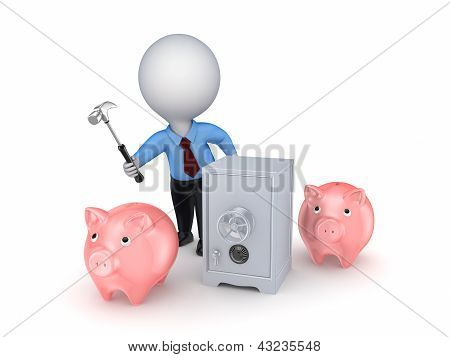 3d small person, pink piggy banks and iron safe.