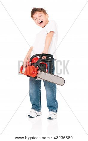 Boy with chainsaw