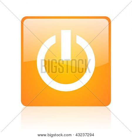 power orange square glossy web icon