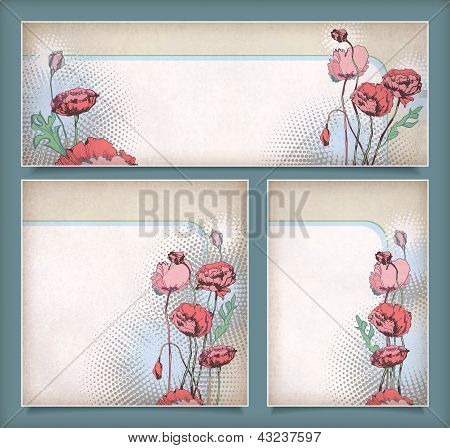 Vintage Flower Banners In Different Layout Set
