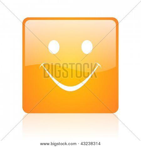 smile orange square glossy web icon