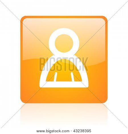 account orange square glossy web icon