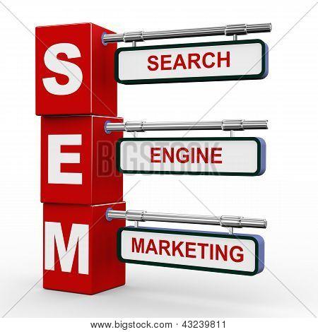 3D Modern Signboard Of Sem