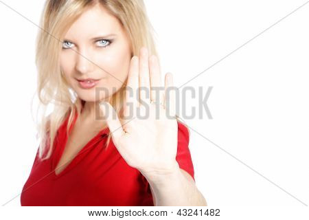 Woman Making A Cease And Desist Gesture