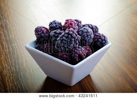 Frozen Blackberries In White Bowl