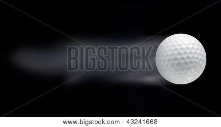 Bola de golfe, deixando trilhas em fundo preto