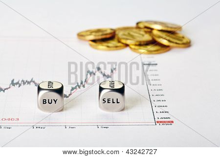 Financial Settlement With The Charts, Coins And Dices Cubes With The Words Buy Sell. Selective Focus