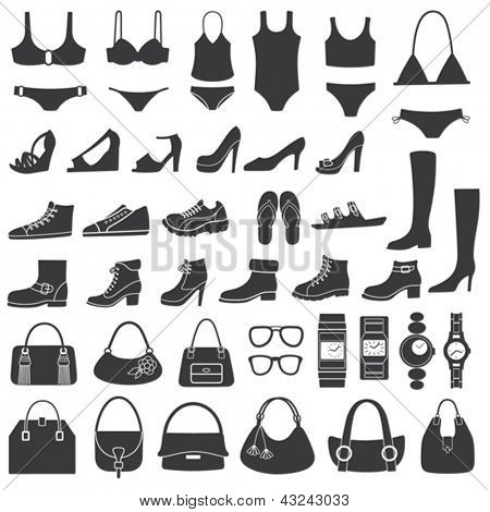 Set of vector silhouettes: shoes, swimwear and accessories. Icons.