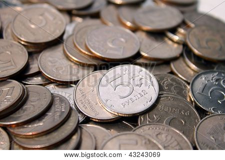 five rouble coins