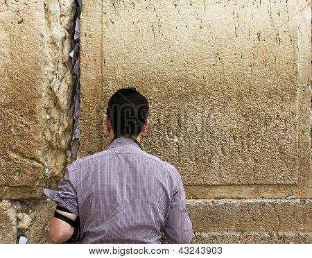 Unidentified Young Man Praying At The Wailing Wall (western Wall)