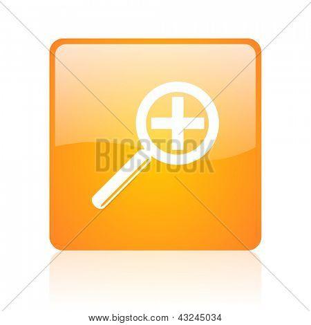 magnification orange square glossy web icon