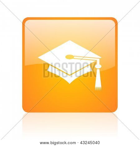 graduation orange square glossy web icon