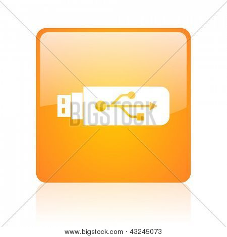 usb orange square glossy web icon