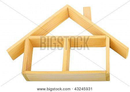 Isolated Wooden House With One Floor And A Roof