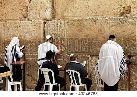 Unidentified Jewish Men Are Praying At The Wailing Wall (western Wall)