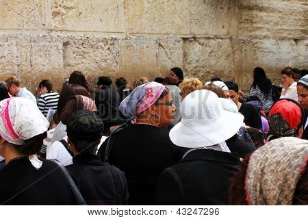Jewish Worshipers (women) Pray At The Wailing Wall