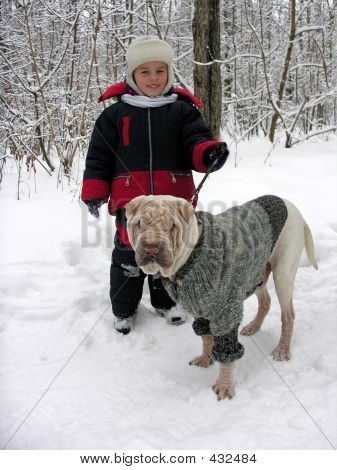 Child With Dog. Winter.