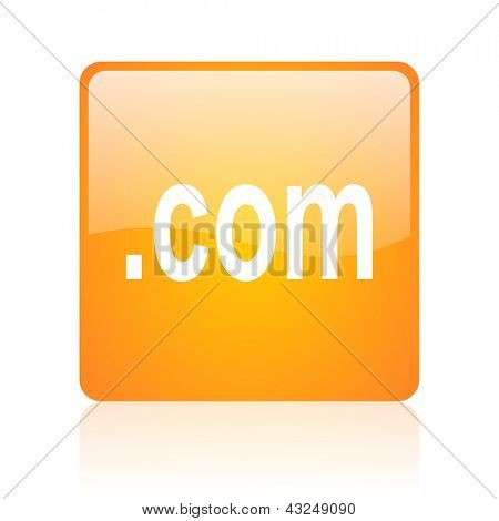 com orange square glossy web icon