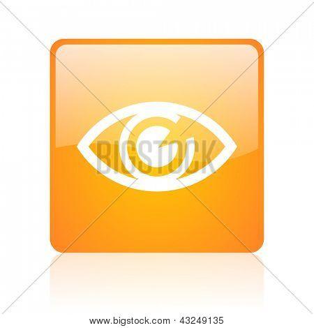 eye orange square glossy web icon