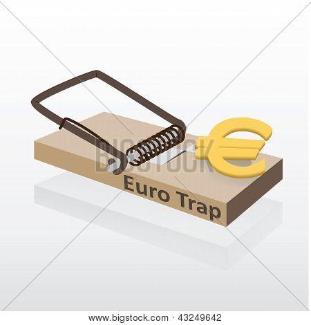 Mousetrap met euro geld vectorillustratie