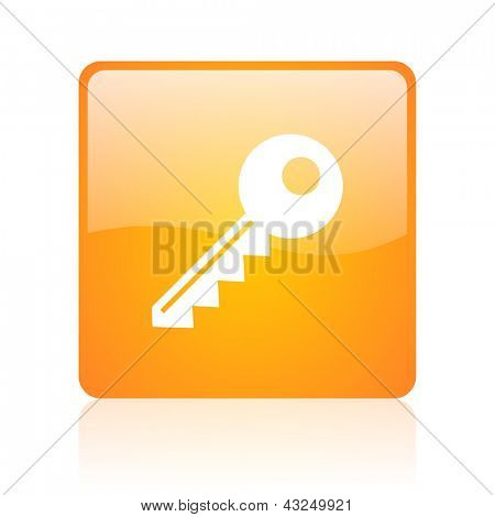key orange square glossy web icon