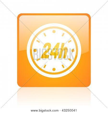 24h orange square glossy web icon