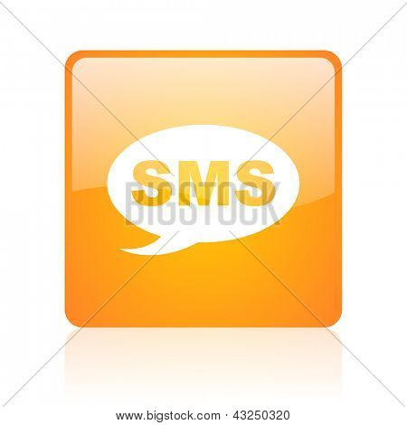 sms orange square glossy web icon