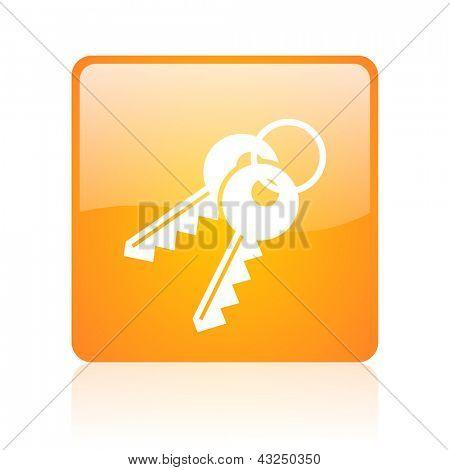 keys orange square glossy web icon
