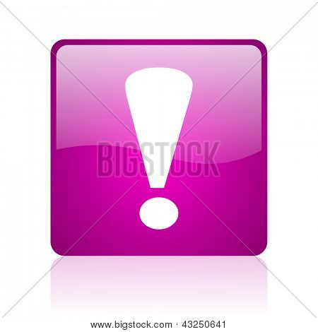 exclamation sign violet square web glossy icon