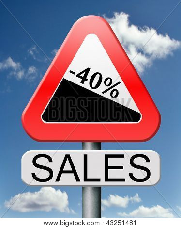sale 40% off winter off for summer sales text on road sign concept for online web shop internet shopping icon or button. Bargain discount or reduction for extra low price promotion.