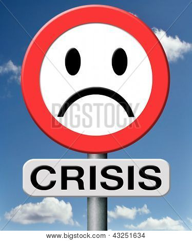 crisis bank economic and financial recession caused by stock market crash or a family or relation crisis