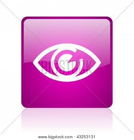 eye violet square web glossy icon