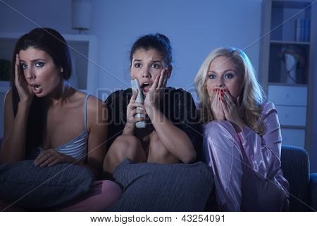 Female friends watching horror movie at home in pyjamas at night.