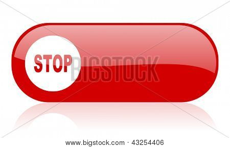 stop red web glossy icon