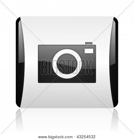 camera black and white square web glossy icon