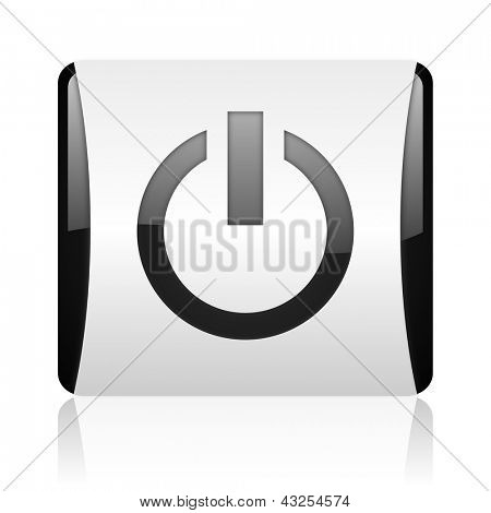 power black and white square web glossy icon