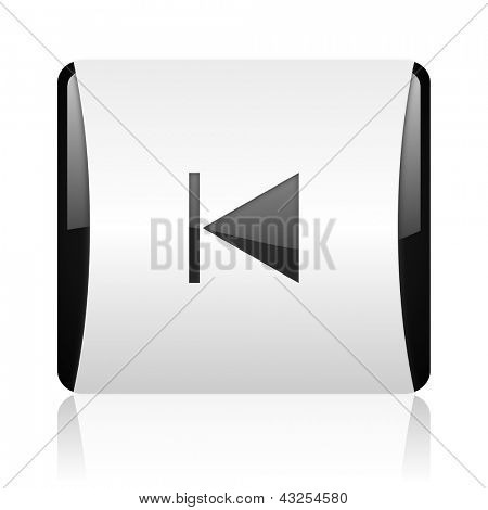 prev black and white square web glossy icon