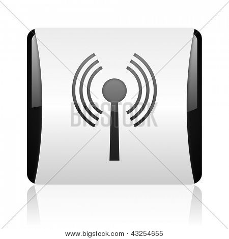 wifi black and white square web glossy icon