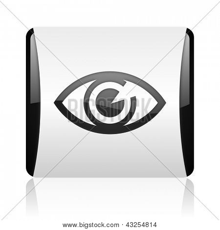eye black and white square web glossy icon