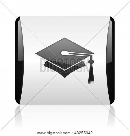 graduation black and white square web glossy icon