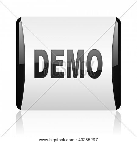 demo black and white square web glossy icon