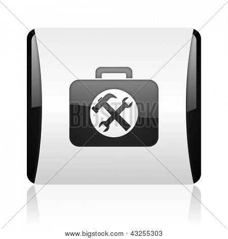 toolkit black and white square web glossy icon
